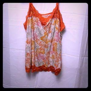 26/28 Lane Brant Orange/pink/white Camisole